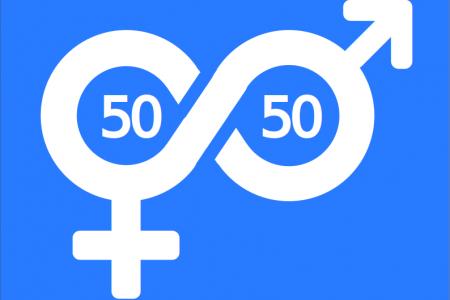logotipo 50/50 running Gipuzkoa fondo azul