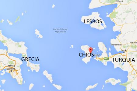 Mapa Chios y Lesbos